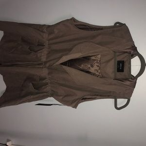 Plus size Khaki vest with drawstring and hood